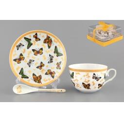 Купить Чашка чайная с блюдцем и ложкой Elan Gallery «Бабочки»