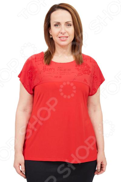Блуза Лауме-стиль «Блестящий праздник»Блузы. Рубашки<br>Блуза Лауме-стиль Блестящий праздник это великолепная вещь, которая создана с учетом всех особенностей женской фигуры. В ней вы будете чувствовать себя комфортно как на работе, так и на вечерней прогулке по городу. Тунику можно носить не только с брюками, но и с юбками, леггинсами. Свободный фасон и правильно подобранные лекала делают покрой изящным.  Туника свободного кроя с короткими рукавами.  В верхней части изделия нанесен легкий блестящий узор, который не теряет привлекательный внешний вид после стирок и длительного использования.  Длина на уровне бедер.  Круглый вырез горловины подчеркнет красоту вашей шеи.  Аккуратные швы обработаны оверлоком. Блуза сшита из приятной ткани, состоящей на 100 из полиэстера. Материал не линяет, не скатывается, формы от стирки не теряет.<br>