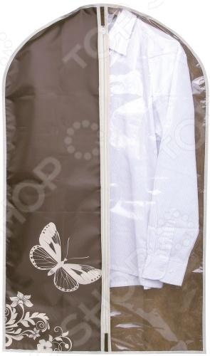 Чехол для одежды Hausmann 4P-301Кофры. Чехлы. Органайзеры для вещей<br>Чехол для одежды Hausmann 4P-301 - красивый, оригинальный чехол для одежды с узором в виде бабочек. Поможет сохранить вашу одежду чистой и аккуратной. Чехол защитит одежду от пыли и сора, а также защитит вещь от шерсти вашего питомца и от моли. В чехол можно помещать любую разновидность одежды по необходимости, также это послужит прекрасной упаковкой для перевозки вашего делового костюма. Имеет оптимальную длину. Легко закрывается на змейку расположенную в передней части.<br>