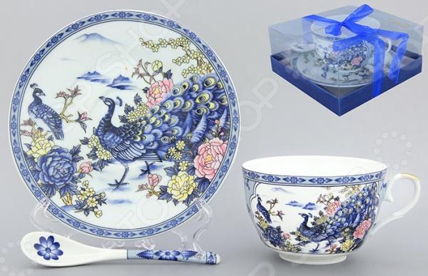 Чашка чайная с блюдцем и ложкой Elan Gallery «Павлин на серебре»