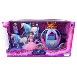 фото Набор игровой для девочки Shantou Gepai «Карета с 2 лошадьми принцессой и волшебницей»