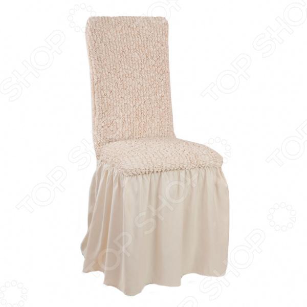Натяжной чехол на стул с юбкой «Микрофибра. Ваниль»Другие чехлы на мебель<br>Натяжной чехол на стул с юбкой Микрофибра. Ваниль подарит вторую жизнь старому стулу. Вам надоело однообразие, хотите обновить приевшийся интерьер Совсем не обязательно для этого покупать новую мебель, ведь сегодня можно легко подобрать красивый чехол из богатого ассортимента. При этом изделие выполняет не только эстетическую функцию, но и защитную: от случайных пятен, царапин, протирания и шерсти животных.  Однако чехол окажется полезен и в другой ситуации. Допустим, вы сделали ремонт в комнате, и старый стул уже не вписывается по стилю в интерьер помещения. Не беда! Просто подберите подходящий чехол и готово. Он без особого труда надевается на стулья практически любого типа и также легко снимается. Изделие сшито из приятной на ощупь ткани, обладающей следующими свойствами:  прочность и износостойкость;  хорошая растяжимость благодаря эластичным нитям в составе ткани;  устойчивость к деформации даже после стирки ;  долго сохраняет свой оригинальный цвет.  Материал не требует особого ухода. Допускается ручная или машинная стирка при температуре от 30 до 40 C без применения отбеливающих средств. Одежда для вашей мебели Способов обновить старую мебель не так много. Чаще всего приходится ее выбрасывать, отвозить на дачу или мириться с потертостями и поблекшими цветами. Особенно обидно избавляться от мебели, когда она сделана добротно, но обивка подвела. Эту проблему решают съемные чехлы для мебели, быстро набирающие популярность в России. Незаменимы чехлы для мебели в домах с маленькими детьми и домашними животными, в гостиных, где устраиваются застолья и посиделки, в интерьерах офисов. В съемных квартирах они помогут сохранить чистоту и гигиеничность. Но все-таки главное их предназначение это эстетическое обновление интерьера. Узнайте больше о плюсах приобретения еврочехлов:  Дизайн еврочехлов исполнен в русле самых свежих трендов рынка интерьерного текстиля. В линейке еврочехлов вы найдете п