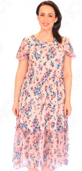 Платье Матекс «Летняна»Повседневные платья<br>Платье Матекс Летняна это легкое платье, которое поможет вам создавать невероятные образы, всегда оставаясь женственной и утонченной. Благодаря свободному крою оно скроет недостатки фигуры и подчеркнет достоинства. В этом платье вы будете чувствовать себя блистательно в любой ситуации. Женственная длина ниже колена великолепно подойдет для любого типа фигуры. Можно отметить следующие преимущества:  Круглый вырез горловины удлиняет шею и помогает области декольте выглядеть роскошно и соблазнительно.  Короткие рукава-крылышки из шифона, которые могут скрыть несовершенства в области плеч.  По линии талии вшита резинка.  Верх платья сделан свободно. Платье изготовлено из шифона 50 полиэстер, 50 вискоза, вставки: 100 полиэстер , благодаря чему материал не скатывается и не линяет после стирки. Даже после длительных стирок и использования платье будет выглядеть прекрасно.<br>