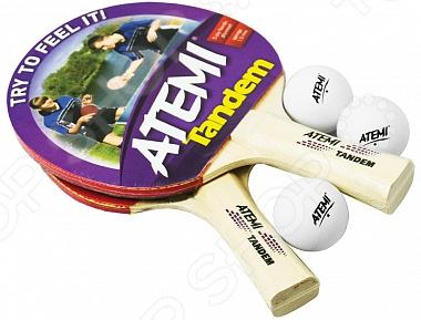 Набор для настольного тенниса ATEMI TandemНабор для настольного тенниса ATEMI Tandem предназначен для начинающих и любителей настольного тенниса. Материалы изделия позволяют играть как в помещении, так и на свежем воздухе. Настольный теннис очень интересная и захватывающая игра, которая не требует особых навыков. Этот спорт развивает выносливость, меткость и ловкость, а нагрузки во время игры тренируют сердечную мышцу. Комплект состоит из трех шариков и двух ракеток, выполненных из пятислойного шпона с накладками из губки, толщиной в 1мм. Такие ракетки предназначены для начального уровня и специальная форма рукояти удобно и комфортно удерживается во время занятий. Эта модель ракетки превосходно подойдет для отработки основных приемов игры на тренировках, а также вы великолепно проведете время на природе, если возьмете такой набор с собой.<br>
