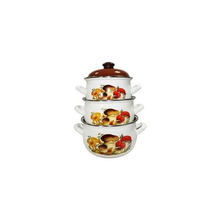 Купить Набор эмалированной посуды «Семейная традиция». Рисунок: грибы