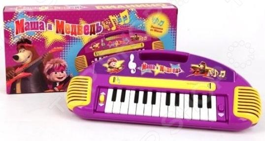 Игрушка музыкальная для ребенка Маша и Медведь «Пианино»Игрушечные музыкальные инструменты<br>Игрушка музыкальная для ребенка Маша и Медведь Пианино замечательная игрушка для самых маленьких, которая поможет привить им любовь к музыке, будет способствовать развитию таких качеств, как усидчивость, аккуратность и терпеливость. Ведь для того, чтобы освоить какой-либо музыкальный инструмент, требуется приложить много усилий. Но для малыша это будет только в радость ему помогут персонажи из любимого мультфильма, а световые и звуковые эффекты подсвечивается знак скрипичного ключа сделают игру еще более реалистичной, интересной и красочной. Игрушка работает в нескольких режимах: пианино и проигрыватель. В первом случае ребенок может самостоятельно играть на музыкальном инструменте, подбирать нужные мелодии и фантазировать. В режиме проигрывателя можно веселиться под песенки из Маши и Медведя . Каждой клавише соответствует определенная мелодия. Игрушка имеет удобную рукоятку, что позволяет легко переносить ее с места на место. Изделие изготовлено из качественных безвредных материалов, которые не вызывают аллергии. Работает от 3-х батареек типа AA не входят в комплект .<br>