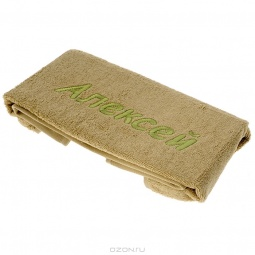 фото Полотенце подарочное с вышивкой TAC Алексей. Цвет: оливковый