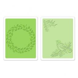фото Набор форм для эмбоссирования Sizzix Textured Impressions Птичка и венок