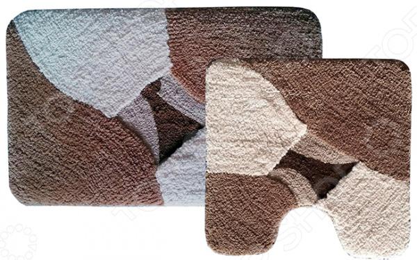 Комплект ковриков для ванной и туалета «Дебора»Коврики<br>Комплект ковриков для ванной и туалета Дебора включает в себя два небольших коврика, рассчитанных специально для туалета и ванной комнаты. Один из них имеет прямоугольную форму, а другой фигурную с выемкой под основание унитаза. Коврики выполнены из высококачественной полиэстровой микрофибры и снабжены нескользящим латексным основанием. Благодаря небольшой высоте ворса всего 0,25 см , изделия быстро сохнут и достаточно легко чистятся. Кроме того, коврики также можно стирать. Допускается как ручная, так и машинная стирка при температуре не выше 30 градусов. Коврики хорошо впитывают влагу и подходят для полов с подогревом. Плотность ворса составляет 1100гр кв.м.<br>