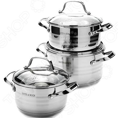 Набор кастрюль Mayer&amp;amp;Boch MB-23398Наборы посуды для готовки<br>Набор кастрюль Mayer Boch MB-23398 высококачественная посуда, в которой можно приготовить здоровую и экологически чистую пищу. В наборе кастрюли с различным объемом и крышки к ним. Такая посуда подойдет для тушения мяса и овощей, для приготовления голубцов, солянки, жаркого или плова. Крышки с ручками и небольшой стеклянной частью дадут возможность контролировать процесс готовки, при этом плотно прилегают к краям кастрюль. Кастрюли сделаны из многослойной стали, которая обеспечит быстрый нагрев продуктов и надолго сохранит тепло. Диаметры изделий соответствуют общепринятым размерам конфорок бытовых плит. Легко отмывается в посудомоечных машинах.<br>