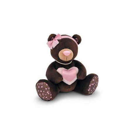 Купить Мягкая игрушка для ребенка Orange «Медведь девочка с сердцем» Milk