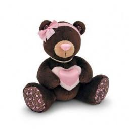 фото Мягкая игрушка для ребенка Orange «Медведь девочка с сердцем» Milk