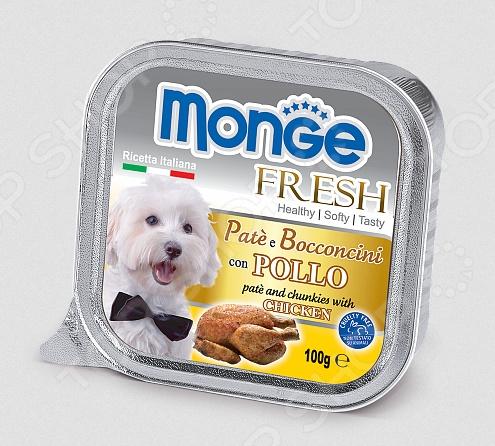 Корм консервированный для собак Monge Fresh Pate e Bocconcini con PolloВлажные корма<br>Корм консервированный для собак Monge Fresh Pate e Bocconcini con Pollo великолепное решение для дополнительного питания для собак различных пород и возрастов. Этот сбалансированный корм выполнен в виде мягкого паштета и послужит настоящим деликатесом для вашего четвероногого гурмана. Благодаря тому, что в состав паштета входит большое количество чистого и натурального мяса, его по достоинству оценят даже самые капризные и разборчивые в еде питомцы. Приятный и натуральный вкус курицы не испорчен искусственными красителями, консервантами и усилителями вкуса. Помимо свежего мяса, рацион также содержит витамины и минералы, которые удовлетворят естественные потребности любой собаки, независимо от её образа жизни: пассивного или активного. Благодаря мягкой консистенции, корм подойдет даже для миниатюрных питомцев. Почему этот корм стоит выбрать для своего питомца  Содержит только отборные и натуральные продукты самого высокого качества.  В составе нет искусственных красителей, консервантов, субпродуктов и гидронегизированных жиров.  Не содержит сахар.  Обогащен витаминами, микро- и макроэлементами, необходимыми для гармоничного развития щенков и поддержания здоровья взрослых собак.  Изготовляется по уникальной технологии: кусочки отборного мяса запекаются в специализированной печи. Суточная норма кормления. Кормом консервированным для собак Monge Fresh Pate e Bocconcini con Manzo не следует полностью заменять сухой корм. Рекомендованное количество корма следует корректировать в зависимости от особенностей и потребностей вашей собаки, её физического состояния и образа жизни. Собакам средних размеров необходимо до 5-6 упаковок продукта в день, кормление лучше разделить на 2-3 приема. Корм рекомендуется давать комнатной температуры. Открытую упаковку рекомендуется хранить в холодильнике.       Вес собаки, кг     4-8     9-14     15-24     25-34     35       Суточная норма, г     400-800 