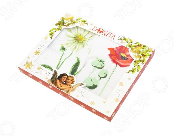 Комплект из 2-х махровых полотенец подарочный BONITA «Цветы» декор ape ceramica lord marine mix blanco 3 20x20