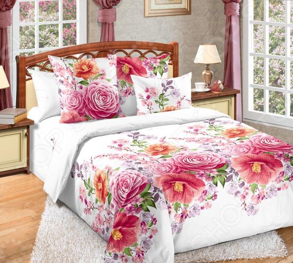 Комплект постельного белья Белиссимо «Камелия». 2-спальный. Цвет: розовый