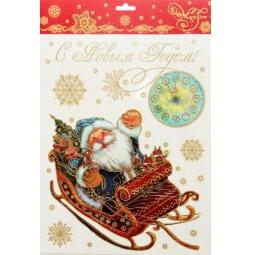фото Пленка декоративная для окна Феникс-Презент 38614 «Дед Мороз в санях»