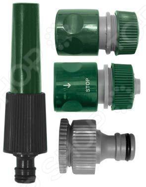 Набор поливочный FIT 77291Коннекторы и штуцеры для соединения шлангов<br>Набор поливочный FIT 77291 это поливочный набор, который используется не только для полива, но и орошения.Узкий носик насадки обеспечивает точную работу, а внешний адаптер используется для монтажа соединения с водопроводной трубой или краном. Соединители применяются для герметичного соединения, что исключает возможную течь. Все входящие в набор детали выполнены из износостойкого пластика ABS, который отличается своими эксплуатационными свойствами. Набор рассчитан на соединение диаметром 1 2 . В комплекте вы найдете:  насадку для полива;  соединитель;  соединитель с автостопом;  внешний адаптер.<br>