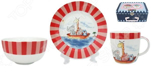 Набор посуды для детей Elan Gallery Веселые путешественники состоит из тарелки, миски и чашки для утреннего чая. Яркие цвета и рисунки стимулируют аппетит. Изделия можно мыть в посудомоечной машине. Такая посуда подарит настроение и уют вашим детям. Для хранения предоставляется чемоданчик.
