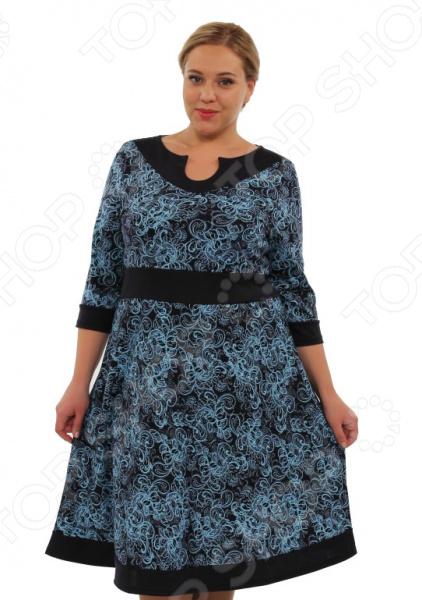 Платье Матекс «Снежная королева»Повседневные платья<br>Платье Матекс Снежная королева это симпатичное платье, которое поможет вам создавать невероятные образы, всегда оставаясь женственной и утонченной. Благодаря полуприталенному силуэту оно скроет недостатки фигуры и подчеркнет достоинства. В этом платье вы будете чувствовать себя блистательно как на работе, так и на вечерней прогулке по городу. Универсальная длина делает платье одеждой на все случаи жизни, а удобные рукава с манжетами скрывают полноту рук. Вырез горловины с виде капли и отрез изящно сочетается с длинными рукавами и расставляет акценты формируя женственный силуэт. Такой вырез акцентирует грудь, как магнитом притягивая к ней взгляды. Подходит девушкам с красивой грудью, которым есть, что показать. Платье выполнено в оригинальной расцвете, напоминающей снежные узоры. Платье изготовлено из плотной ткани 65 вискоза, 30 полиэстер, 5 лайкра, вставки: 40 хлопок, 55 полиэстер, 5 лайкра , благодаря чему материал не скатывается и не линяет после стирки. Даже после длительных стирок и использования платье будет выглядеть прекрасно.<br>