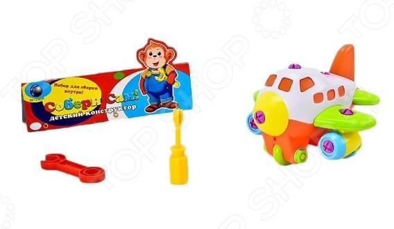 Конструктор для малышей Shantou Gepai Самолет оригинальный набор, с помощью которого можно будет собрать игрушечный самолет. В набор входят детали для сборки, а также гаечный ключ и отвертка, которые помогут прикрепить детали друг к другу. Выполнен из качественного материала, безопасного для ребенка. Такой конструктор-самокрутка позволит развить мелкую моторику рук, логическое мышление, а также позволит ребенку увлекательно провести свой досуг.