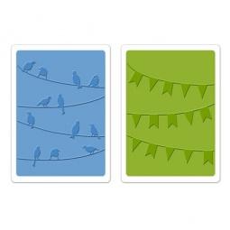фото Набор форм для эмбоссирования Sizzix Textured Impressions Птички и флажки