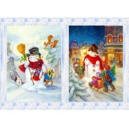 Купить Декупажная карта Karalliki «Модные снеговики»