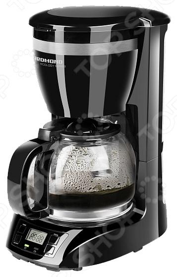 Кофеварка Redmond RCM-1510Кофеварки<br>Кофеварка Redmond RCM-1510 это современный аппарат, сочетающий в себе компактность, функциональность и практичность. Модель мощностью 900 Вт позволяет приготовить ваш любимый напиток нажатием буквально одной кнопки. Кофе варится под высоким давлением, что позволяет извлечь максимум вкуса и аромата. Кофеварка изготовлена из высококачественного пластика, устойчивого к высоким температурам и влажности. Оснащена индикатором включения выключения, шкалой уровня воды, съемным держателем для фильтра и противокапельной системой. Главной же особенностью является наличие 24-часового таймера и функции автоподогрева. Вся информация отображается на ЖК-дисплее. В целях безопасности и экономии электроэнергии, предусмотрена функция автоматического выключения через 40 минут. Благодаря стильному дизайну, кофеварка Redmond RCM-1510 впишется в любую современную кухню.<br>