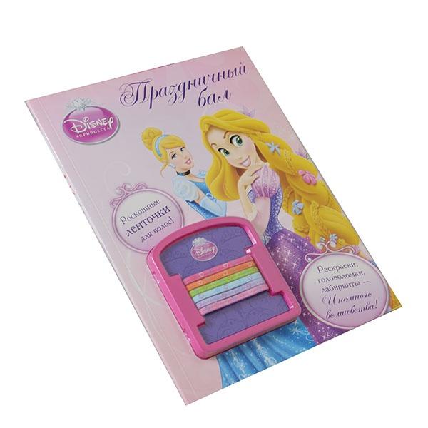Принцессы Дисней приглашают тебя на бал! Нарисуй бальное платье для себя, сосчитай хрустальные туфельки, сделай красивую корону. Собери все, что нужно для визита в королевский дворец! В комплекте 6 резиночек для волос ярких цветов.