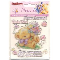 фото Набор штампов ScrapBerry's Мишутка с цветами