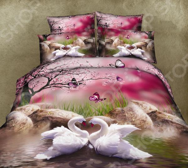 Комплект постельного белья Mango «Лебеди». СемейныйСемейные<br>Комплект постельного белья Mango Лебеди это незаменимый элемент вашей спальни. Человек треть своей жизни проводит в постели, и от ощущений, которые вы испытываете при прикосновении к простыням или наволочкам, многое зависит. Чтобы сон всегда был комфортным, а пробуждение приятным, мы предлагаем вам этот комплект постельного белья. Приятный цвет и высокое качество комплекта гарантирует, что атмосфера вашей спальни наполнится теплотой и уютом, а вы испытаете множество сладких мгновений спокойного сна.  Комплект выполнен из ткани, состоящей на 100 из хлопка, и обладает следующими преимуществами:  Мягкий и приятный на ощупь материал отличается высокой гигроскопичностью и хорошо пропускает воздух.  Рисунок нанесен на ткань с применением современных технологий 3D печати, что делает его не только выразительным, но и долговечным. Благодаря специальному активному красителю ткань долго не утратит своей яркости, а рисунок выразительности линий.  Натуральный материал гипоаллергенен и безопасен для здоровья.  Особое переплетение нитей ткани повышает устойчивость к легким механическим повреждениям.  Тип ткани сатин. Имеет гладкую и шелковистую лицевую поверхность с легким блеском. Практически не мнется и не деформируется. Перед первым применением комплект постельного белья рекомендуется постирать. Перед этим выверните наизнанку наволочки и пододеяльник. Для сохранения цвета не используйте порошки, которые содержат отбеливатель. Рекомендуемая температура стирки 40 С однако технология изготовления и окрашивания сатина из коллекции Mango допускает стирку даже при более высоких температурах . Обновите свою кровать таким комплектом постельного белья, и интерьер вашей комнаты заиграет новыми красками.<br>