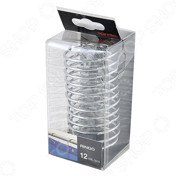 Кольца для штор Spirella RINGOКарнизы. Шторки для ванной<br>Кольца для штор Spirella RINGO очень практичны в использовании. Кольца предназначены для штор в ванную комнату. Кольца серебристого цвета изготовлены из 100 металла. Изящные дизайнерские кольца снабжены надежным запирающим механизмом. В упаковке 12 колец на одну штору . Диаметр 5 см.<br>
