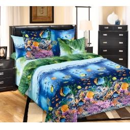 фото Комплект постельного белья Белиссимо «Подводный мир». 2-спальный. Размер простыни: 220х195 см