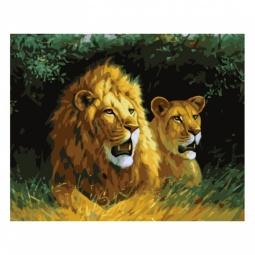 фото Набор для раскрашивания по номерам Белоснежка «Львы на отдыхе»