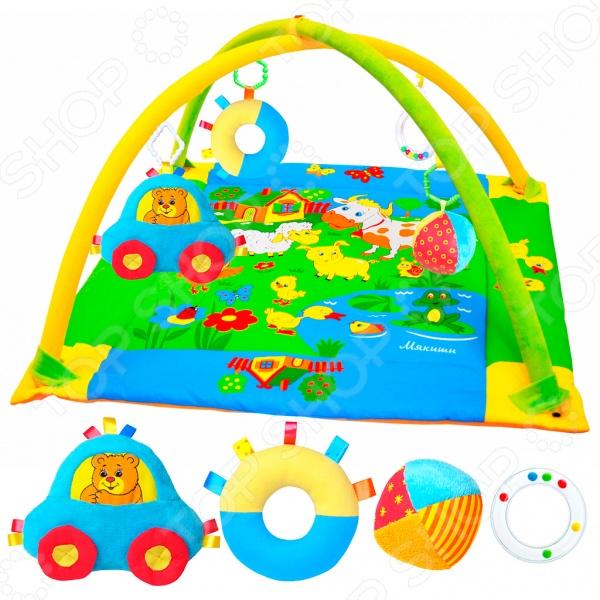 Коврик игровой Мякиши с дугами «Лужайка с машинкой»Развивающие коврики и аксессуары<br>Коврик игровой Мякиши с дугами Лужайка с машинкой великолепное приобретение для вашего любознательного и активного малыша. Этот удивительный коврик откроет перед вашим ребенком целый сказочный мир, который будет каждый раз удивлять его красочными и насыщенными цветами, забавными рисунками и дополнительным аксессуарами. Мягкий и удобный коврик поможет вашему ребенку ориентироваться в окружающем мире и подготовит его к новым и важным открытиям. Он также призван выполнять функцию необычного тренажера, который будет в игрой форме развивать у малыша цветовое, зрительное и тактильное восприятие. Коврик оснащен дугой с мягкими подвесками и оригинальными звуковыми элеменатми. Игрушки не только будут развлекать малыша, но и помогут ему развить хватательные рефлексы, мелкую моторику рук и координацию движения. Благодаря тому, что развивающий коврик Лужайка с машинкой выполнен из качественных материалов, он не будет вызывать аллергических реакций и раздражения, поэтому малыш сможет ползать на нем даже голышом. Яркие рисунки нанесены с помощью современных технологий, которые позволяют им сохранять свои цвета и насыщенность в течении долгого времени. Высота от коврика до дуги составляет 42 см.<br>