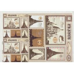 Купить Карта декупажная Кустарь «Почтовые марки, Франция»