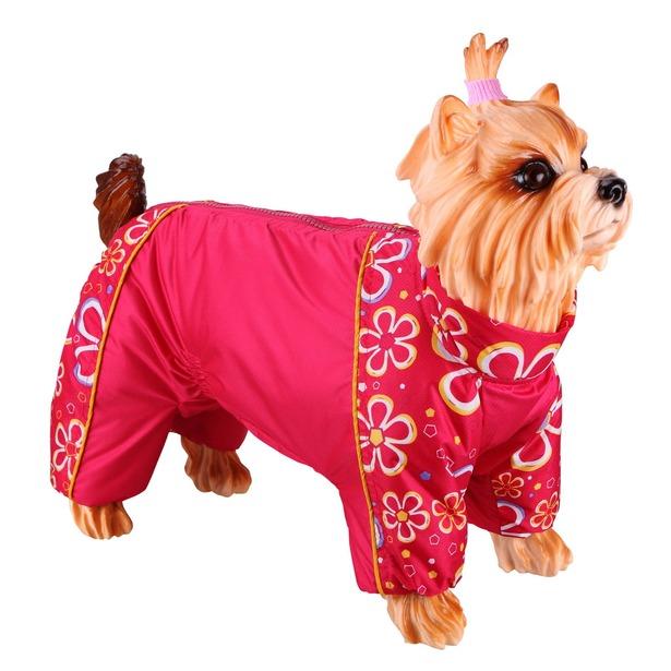 фото Комбинезон-дождевик для собак DEZZIE «Пекинес». Цвет: красный. Материал подкладки: синтепон