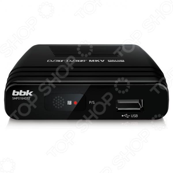 ТВ-тюнер BBK SMP016HDT2 устройство для приема цифрового эфирного вещания стандарта DVB-T2 и DVB-T. Реализована функция Personal Video Recorder для записи телепрограмм, а также TimeShift для отложенного просмотра файлы сохраняются на ваш внешний накопитель USB . Встроенный мультимедийный проигрыватель позволяет воспроизводить различные форматы видео, музыки и изображений. Для удобства предусмотрен доступ к интерактивной программе передач Electronic Program Guide.