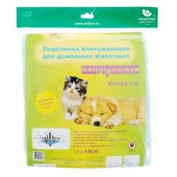 фото Подстилка впитывающая для домашних животных Пелигрин многоразовая «Доброзверики». Размер: 60х95 см