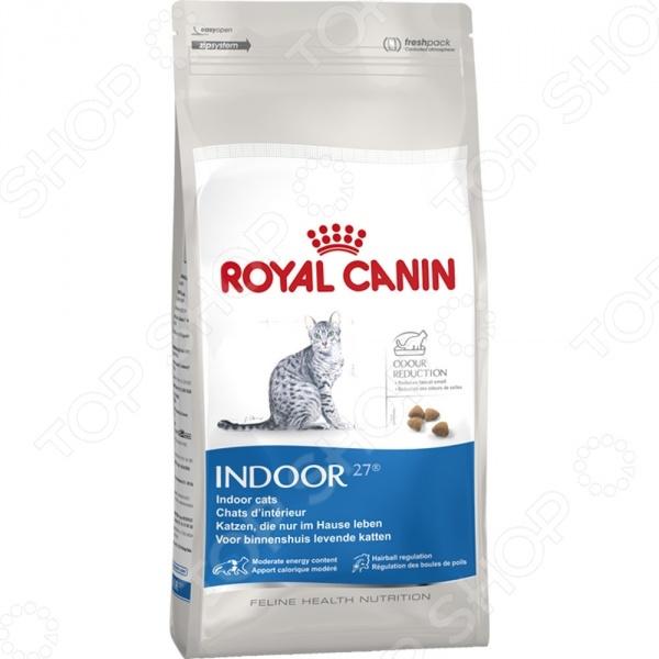 Корм сухой для кошек Royal Canin Indoor 27Сухой корм<br>Корм сухой для кошек Royal Canin Indoor 27 сбалансированный рацион для ежедневного питания вашего любимца. Высокая энергетическая ценность удовлетворит потребности животного, при этом у вас не возникнет необходимости скармливать вашему питомцу большие порции. Корм предназначен для кошек, постоянно живущих в помещении. Этот образ жизни отличается низкой активностью, что вызывает вялую работу кишечника и, как результат, появление жидкого стула с резким запахом. За счет высокого содержания L.I.P. белки, отобранные по принципу максимальной усвояемости происходит уменьшение выделения сероводорода, что приводит к ослаблению запаха фекалий. Кроме того, корм стимулирует кишечный транзит благодаря сочетанию ферментируемой и неферментируемой клетчатки, что способствует выведению комочков шерсти из желудка. Если вы решили перевести своего питомца на новый рацион, то делайте это постепенно в течение 7 дней. Просто кормите кошку смесью этого корма с предыдущим, со временем уменьшая количество последнего. Ваш верный друг оценит новое лакомство, ведь корм изготовлен из отборных ингредиентов и отличается превосходным вкусом. Внимание! Не забывайте о свежей воде, которая должна быть постоянно в миске вашего питомца. Рекомендуемая ежедневная дозировка значения в граммах и стаканах :      Вес кошки     Повышенная  активность     Нормальная  активность     Низкая  активность       2 кг     41 г     4 8 ст     34 г     3 8 ст     27 г     2 8 ст       3 кг     54 г     5 8 ст     45 г     4 8 ст     36 г     3 8 ст       4 кг     66 г     6 8 ст     55 г     5 8 ст     44 г     4 8 ст       5 кг     78 г     7 8 ст     65 г     6 8 ст     52 г     5 8 ст       6 кг     89 г     1 ст     74 г     6 8 ст     59 г     5 8 ст<br>