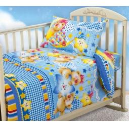 фото Ясельный комплект постельного белья Бамбино «Звездная ночь». Цвет: голубой
