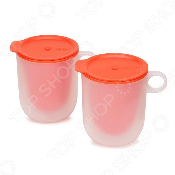 Набор из двух кружек с двойными стенками Joseph Joseph M-Cuisine 45012Кружки. Чашки<br>Joseph Joseph M-Cuisine 45012 это удобный и простой в использовании набор из двух кружек, которые предназначены для разогрева напитков, жидких блюд, а также для приготовления десертов в микроволновой печи. Главной особенностью данных кружек, является наличие двойных стенок, что позволяет внешней поверхности посуды всегда оставаться холодной. Теперь вам не понадобится прихватка или полотенце, чтобы достать готовое блюдо, и вы не обожжетесь. Плотные крышки оснащены пароотводами.<br>