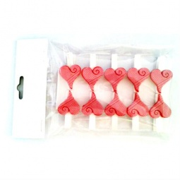 фото Набор прищепок декоративных Феникс-Презент «Красные сердечки»