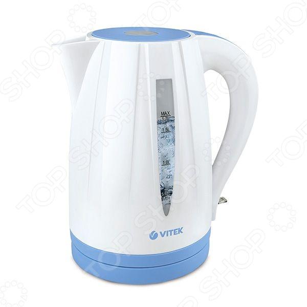 Чайник Vitek VT-1168Чайники электрические<br>Удобный и простой в использовании чайник Vitek VT-1168 изготовлен из термостойкого пластика. Благодаря мощности в 2200 Вт и нагревательному элементу скрытого типа, быстро вскипятит воду объемом до 1,7 литров. На рынке бытовой техники этот прибор пользуется неизменной популярностью благодаря высокому качеству, безопасности и удобству в использовании. Модель оснащена индикатором включения выключения, шкалой уровня воды и фильтром против накипи. Цоколь с центральным контактом позволяет поворачивать прибор на 360 . Кабель удобно хранить в подставке. В целях безопасности имеется функция блокировки включения без воды. Благодаря стильному дизайну, чайник Vitek VT-1168 впишется в любую современную кухню.<br>