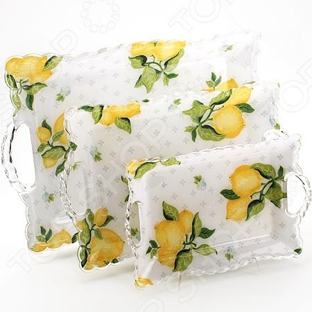 Набор подносов Mayer&Boch MB-3238 «Лимон» наб подносов мет mb 3пр рез зол руч