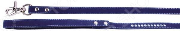 Поводок для собак DEZZIE «Бархат и стразы». Цвет: темно-синий шлейка для собак dezzie бархат и стразы цвет синий