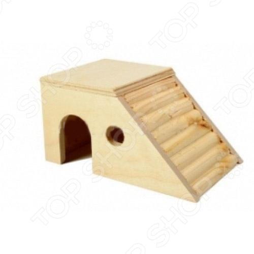 Домик для мелких грызунов Red Plastic с наклонной стенкой домик для грызунов