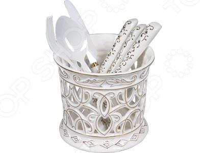 Набор столовых приборов POMIDORO R0702 Nobile BiancoСтоловые приборы<br>Набор столовых приборов POMIDORO R0702 Nobile Bianco это сочетание высокого качества и стильного и оригинального дизайна. Этот набор подойдет для сервировки праздничного стола, или дополнит набор ваших кухонных принадлежностей и хорошо впишется в дизайн современной кухни. Набор включает в себя шесть приборов, сделанных из керамики, и подставку для хранения.<br>