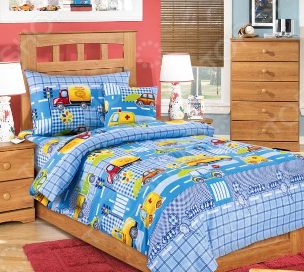 цена Детский комплект постельного белья Бамбино «Машинки» онлайн в 2017 году