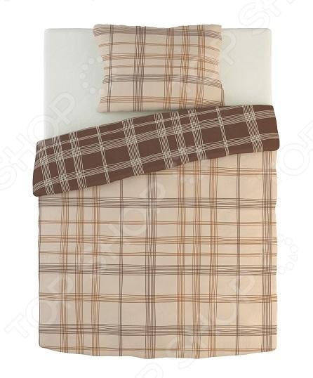 Фото Комплект постельного белья Dormeo Warm Hug. 1-спальный. Цвет: коричневый, кремовый. Вид: клетка