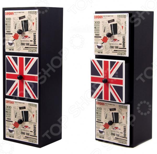 Шкатулка «Лондон» 38712Шкатулки<br>Шкатулка Лондон 38712 универсальное и многофункциональное изделие, которое станет оригинальным и полезным подарком. Предметы с изображением флага Великобритании с каждым днем становятся более популярными и востребованными. Необычная вертикальная шкатулка, выполненная в стиле Лондон внесет в интерьер частичку английской элегантности. Изделие выполнено из MDF, окрашенного в черный матовый цвет. Модель имеет вертикальную конструкцию с тремя выдвижными отсеками. На каждой полочке есть маленькая ручка, с помощью которой открывать шкатулку будет легко и просто. На одном отсеке напечатано красочное изображение Великобританского флага, на двух других вырезки из газет. В такой шкатулке можно хранить отдельно мелочь, деньги и украшения. Для продления срока эксплуатации и сохранения первоначального вида необходимо регулярно протирать изделие сухой мягкой тканью.<br>